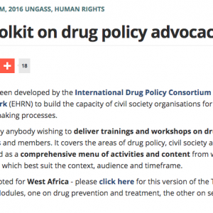 Drug policy advocacy toolkit